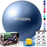 arteesol Gymnastikball, Balance Ball 45cm/55cm/65cm/75cm Yoga Ball mit Pumpe Anti-Burst Fitness Balance Ball für Core Strength (Dunkelblau-Scrub, 45cm)