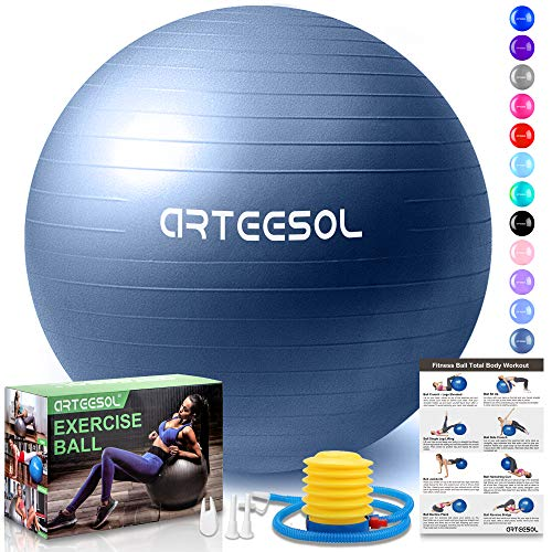 arteesol Gymnastikball, Balance Ball 45cm/55cm/65cm/75cm Yoga Ball mit Pumpe Anti-Burst Fitness Balance Ball für Core Strength (Dunkelblau-Scrub, 65cm)
