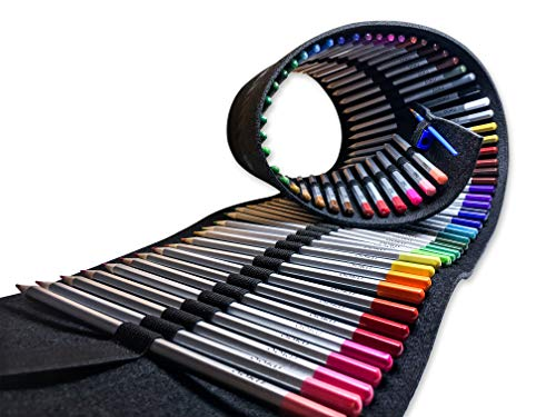 OOKU Artist Pro Watercolor Pencils Set 72 Colors / 75 Pc Full Kit | Wet Water Color Pencils Set/Dry Coloring Pencils Set for Adults, Kids | w/Wool Pencil Wrap, Watercolor Brush, Sharpener