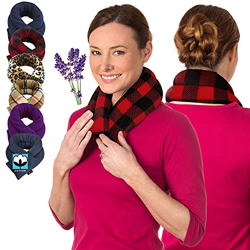 Lavender Neck Wrap Microwavable Aromatherapy - Neck Wrap for Pain Relief - Microwave Heating Pad for Neck and Shoulders - Herbal Aroma Therapy, Spa, and Warmer by Sunnybay (Buffalo Plaid Red, XLong)