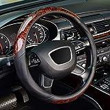 KAFEEK Wood Grain Steering Wheel Cover, Universal 15 inch, Microfiber Leather,Anti-Slip, Odorless