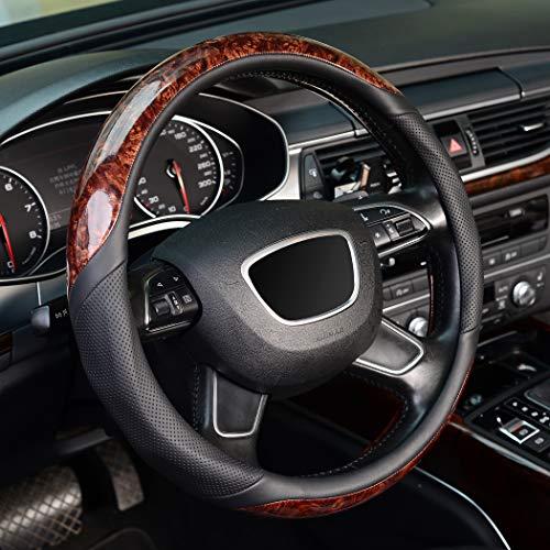 KAFEEK Wood Grain Steering Wheel Cover, Universal 15 inch,...