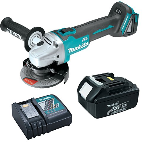"Makita XAG03Z 18V 4-1/2"" Brushless Cut-Off/Angle Grinder 3 Ah Battery, Charger"
