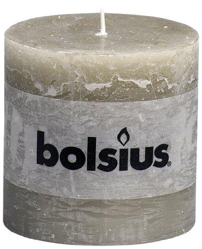 BOLSIUS RUSTIC Stumpenkerze 100 x 100 mm grau