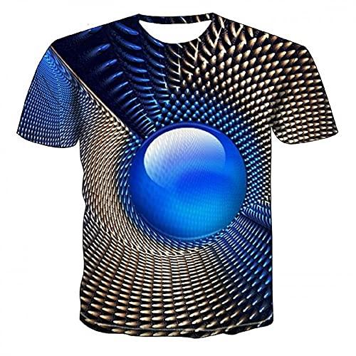 Camiseta Hombre Estampado 3D Gótico Divertida Camiseta Casual Verano Manga Corta Slim Fit Cuello Redondo Tendencia Deporte Correr Camiseta Casual Q-002 L