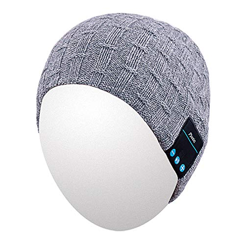 Qshell Washable Bluetooth Beanie Warm Soft Winter Knitted Trendy Short Skully Hat Cap with Wireless Headphone Headset Earphone Speakerphone Mic,Gift for Outdoor Sports Skating Hiking Camping - Gray