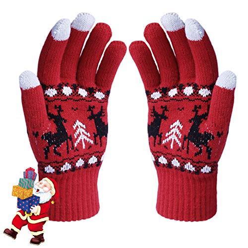 Aibrou Touchscreen Handschuhe Damen Winterhandschuhe Fahrradschuhe Frauen Handschuhe Winter Warm Handschuhe mit Fleecefutter in Rot, Schwarz und Grau (Rot-Elche, Normal)