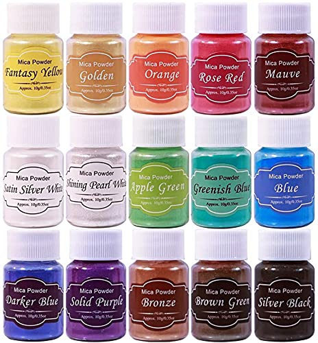 SEISSO 15 Bottles Mica Powder Set, Epoxy Resin Dye, Pearlescent Color Pigment, Cosmetic Grade Pigment for DIY Arts, Slime, Bath Bombs, Nail Polish, Candle Making, Soap Making and Coloring Mix