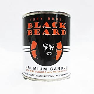 Fury Bros.. Black Beard Man Candle with Scents of Gun Powder and Charred Hickory, Slow Burn Soy Candle, 12.5 Ounce