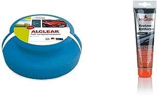 ALCLEAR 5713050M Auto Profi Handpolierschwamm 130 x 50 mm mit umlaufender Griffleiste für Wachse, Polituren, Politur Set, statt Poliermaschine & NIGRIN 74256 Kratzer Entferner, 150 g, schwarz