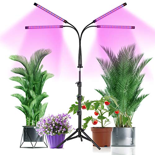 Grow Light with Stand,GHodec Four-Head Plant Light for Indoor Plants,80LED Red Blue Floor Grow Lamp with 3/9/12 Timer,Tripod Stand Adjustable 15-48 in