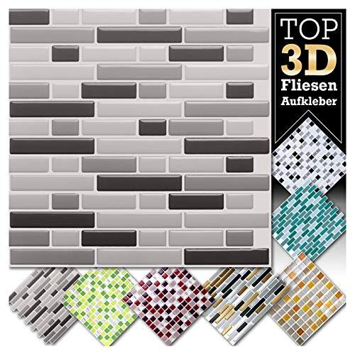 Grandora 1 adesivi 28,6 x 25,3 cm diverse tonalità di grigio adesivo per piastrelle Design 5 I 3D mosaico foglio di piastrelle Cucina vasca da bagno adesivo murale Decorazione piastrelle W5423