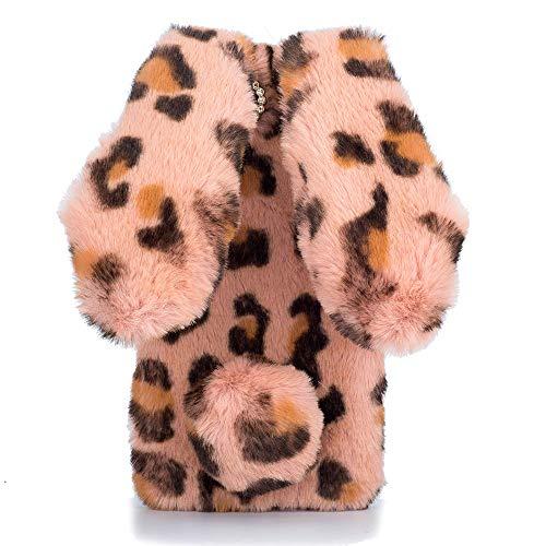 HongHushop Plüsch Hülle für Wiko Sunny 3 Niedlich Pelzig Flauschige Hase Ohren Weich Schützend Telefon Abdeckung Schale für Wiko Sunny 3 -Rosa Leopard