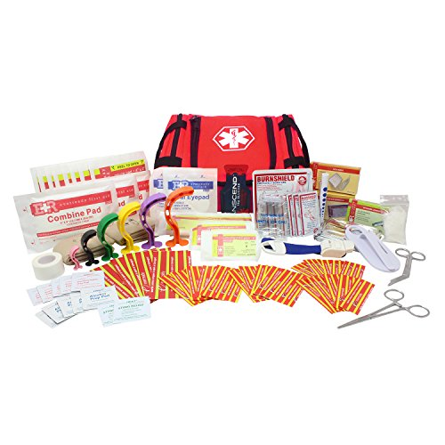 Ever Ready First Aid EMS First Responder Fully Stocked Trauma First Aid Kit (Red)
