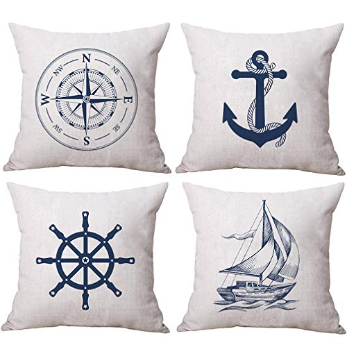 ULOVE LOVE YOURSELF Coastal Sailing Throw Pillow Case Blue Compass/Anchor/Sailboat/Navigation...