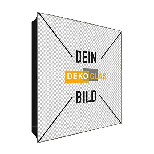 DekoGlas Schlüsselkasten mit eigenem Druck in Größe 30x30 cm, inkl. Haken, eigenes Foto auf Glas als Geschenk-Idee, Schlüssel-Box