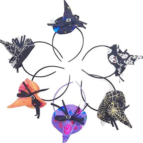 Shuny 6 PCS Diadema de Halloween,Hairband de Disfraces,Diadema de Sombrero de Bruja Sombrero de Diadema de Halloween,Carnaval Accesorios decoración