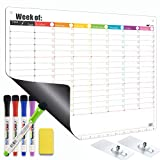 Magnetic Dry Erase Calendar for Refrigerator or for Wall - Weekly Whiteboard Planner Timetable Schedule Chore Chart to-Do List - Included Adhesive Hooks for Wall Hanging, 5 Fine Tip Markers, 1 Eraser