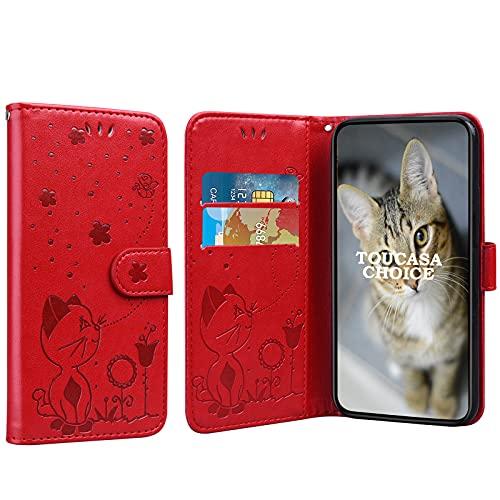 TOUCASACHOICE Funda para Sony Xperia Z5, Diseño de Gato y Abeja en Relieve Case PU Cuero Case Protectora Cartera Soporte Plegable Función Fundas Case Cover (Rojo)