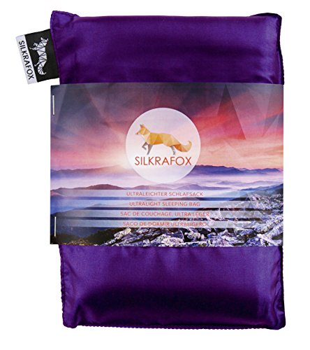 Silkrafox, Sacco a Pelo Ultraleggero in Seta Artificiale, Sacco Lenzuolo, Lilla