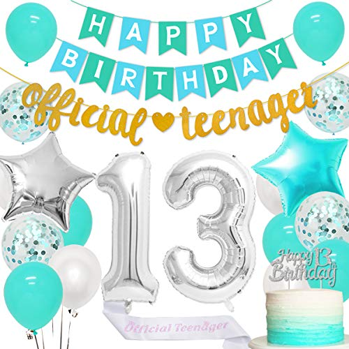 Jollyboom 13th Birthday Party Decorations Teal for Girls with Official Teenager Banner Garland Sash Happy 13th Birthday Cake Topper