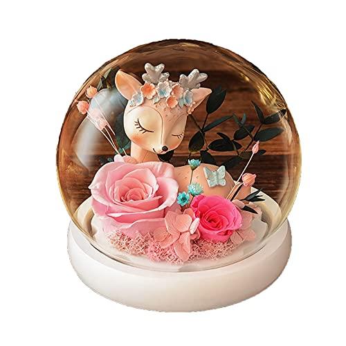 DDTT Flores Artificiales de Rosa eterna en cúpula de Vidrio, Lindo Cervatillo con lámpara de Noche con luz LED para Regalos navideños del día de la Madre para niña,Rosado
