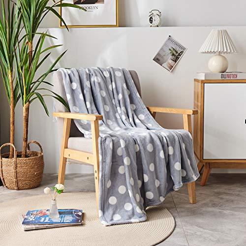 DAKANG Plush Throw Blanket, Fleece Throw for Couch 50' x 60' - Soft Microfiber Cozy Lightweight Printed All Season Bed Throw Blanket, Polka Dot Grey