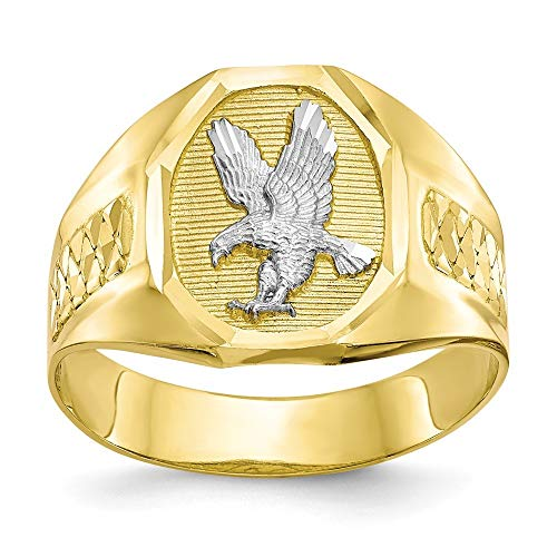 10k Yellow Gold Polished Sparkle Cut Textured back and Rhodium Mens Eagle Ring Jewelry Gifts for Men - Higher Gold Grade Than 9ct Gold