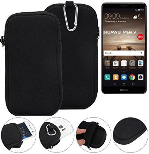 K-S-Trade Neopren Hülle Für Huawei Mate 9 (Dual-SIM) Schutzhülle Neoprenhülle Sleeve Handyhülle Schutz Hülle Handy Gürtel Tasche Hülle Holster Handytasche Schwarz