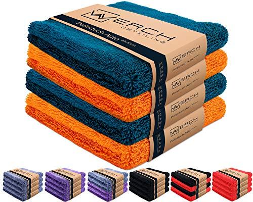 WERCH® 4X randloses Microfasertuch für Autopflege - Ultraweich und Lackschonend Dank 400 GSM - Mikrofasertücher für Auto Politur - 40x40 cm Poliertuch für Autolack (Orange + Blau)