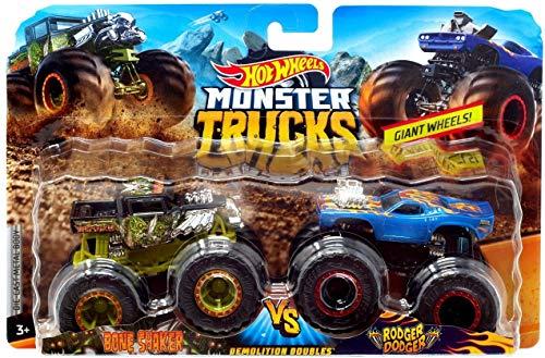 Hot Wheels 1:64 Demo Doubles Monster Trucks Bone Shaker VS Rodger Dodger