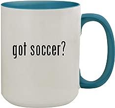 got soccer? - 15oz Ceramic Inner & Handle Colored Coffee Mug, Light Blue