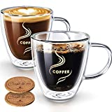 Coffee Mugs, HOKEKI Glass Coffee Cups Double Walled Anti-scalding with Coasters Insulated Espresso Cups Cappuccino Clear Mugs 5.4oz(Set of 2)