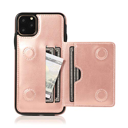 EYZUTAK Card Slot Holder Wallet Case for iPhone 11 Pro 5.8 inch 2019, Premium PU Leather Case Kickstand with Hidden Magnetic Closure Flip Durable Shockproof Protective Cover - Rose Gold