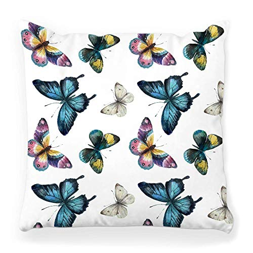 Fantastic Fairy Soft Square Pillow Cover 20x20 Pattern Isolated Drawing Butterfly Fashion Flower Spring Retro Style Abstract Beauty Blue Color