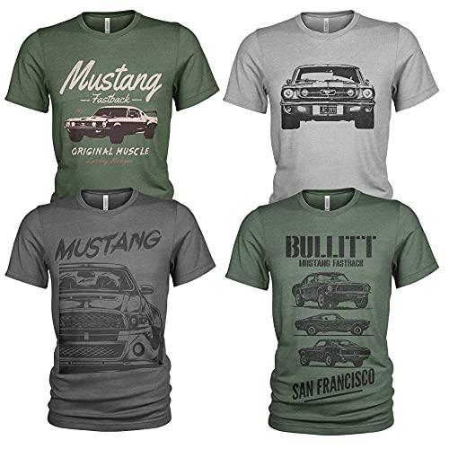 4er Pack Herren T-Shirt Ford Mustang mit Frontprint und Rundhalsausschnitt (L, Collection 9)