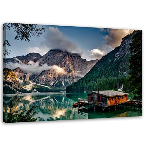 Feeby. Wandbild - 1 Teilig - 80x120 cm, Leinwand Bild Leinwandbilder Bilder Wandbilder Kunstdruck, PRAGSER WILDSEE, Italien, Berge, Natur, GRÜN