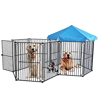 LEMKA Heavy Duty Dog Playpen Dog Kennel Pet Dog Exercise Playpen Foldable Dog Steel Crate Wire Metal Cage 10 Panels with Canopy - 60 inches