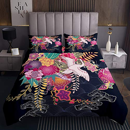 Loussiesd Colcha con estampado de grúa, diseño de hojas tropicales, para niños, mujeres, estilo chino, decoración de la naturaleza botánica, colección de dormitorio, 2 piezas, tamaño individual