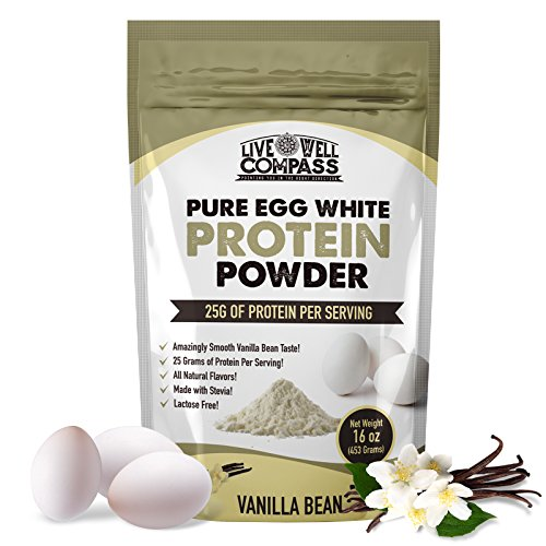 Live Well Compass - 16oz Vanilla Bean Egg White Protein Powder Shake - 25G of Powdered Protein Drink - Dairy, Gluten and Casein Free - Great for Paleo Diet & Lactose Intolerance