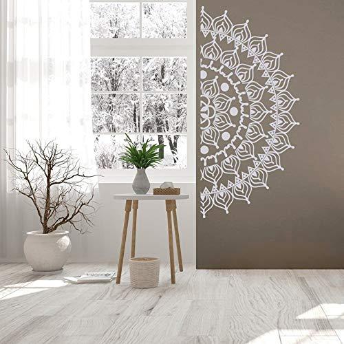 Media mandala calcomanía de pared para cabecera - calcomanías de pared removibles pegatinas de dormitorio, calcomanía de pared de meditación de arte de pared de mandala A6 92x42cm
