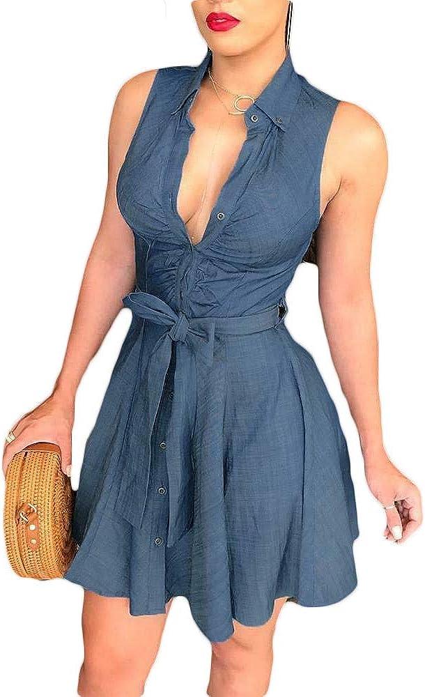 Fepege Women's Summer Sleeveless V-Neck Denim Dress Self Tie Waist Short Mini Dresses