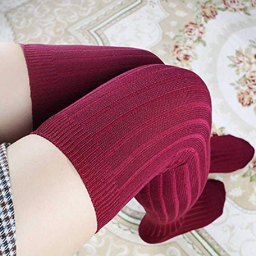 XIAOPENG Heap Haufen Socken Gestrickte Socken Weiblich Super Lange üBer Knie Socken Vertikale Hohe Rohr Stiefel Socken Einheitsgröße/Dicker Streifen Burgundrot