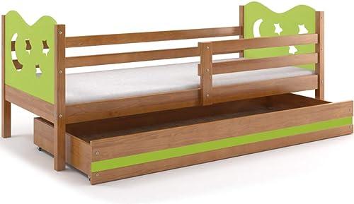 Kinderbett Miko 190x80cm mit Lattenrost und Matratze, Farbe  Erle + 2. Farbe zu W en (Erle + Grün)