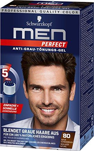 Schwarzkopf Men Perfect 80 Haartönung natur schwarzbraun, hochwertige Haarfarbe gegen graue Haare 3er Pack (3 x 80ml)