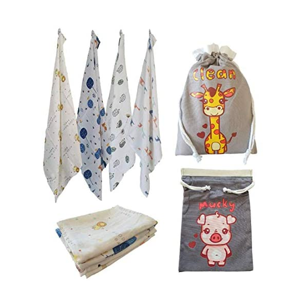 Cuadrados de muselina para bebé de alta calidad, súper suaves, 70% bambú, 30% algodón, 60 cm x 60 cm, diseño de animales…