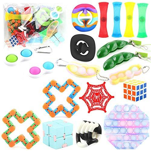 Sensory Fidget Toys Set, Fidget Toys Pack, Günstig Fidget Toy Set, Anti-Stress Fidget Toy Set, Angst Fidget Toy Box, Stress Relieve für Kinder Erwachsene Spielzeug Set (Fidget Toys Pack-A)