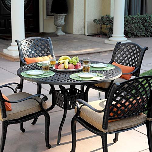 Darlee Nassau 5 Piece Cast Aluminum Patio Dining Set with Round Table
