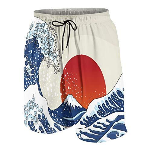Blived Troncos de natación de los Hombres,Una Antigua Gran Ola Japonesa,Trajes de baño de Ropa de Playa Trajes de baño Shorts de baño Trajes de baño de Malla y Bolsillos