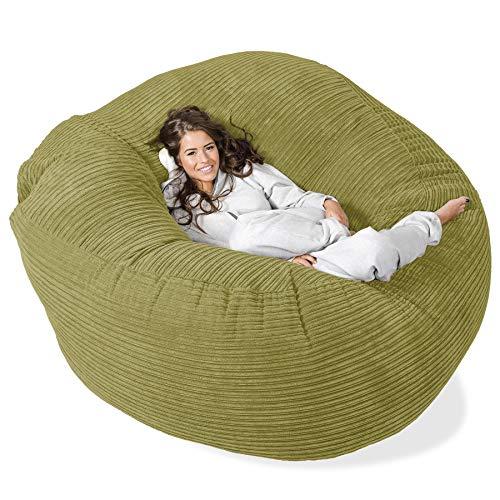 Lounge Pug®, 'Mega-Mammoth' Sofa Sitzsack XXL, Schlafsofa, Cord Hellgrün